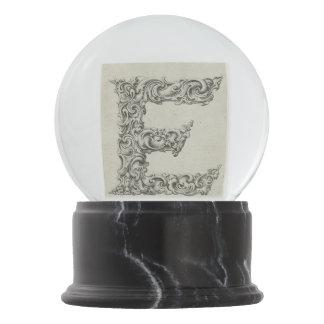 Vintage Calligraphy Script 'Letter E' Snow Globe