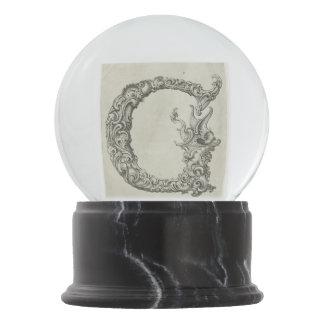 Vintage Calligraphy Script 'Letter G' Snow Globe