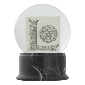 Vintage Calligraphy Script 'Letter L' Snow Globe