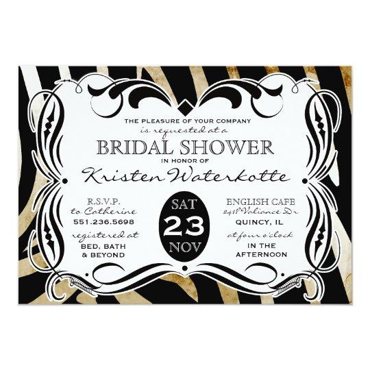 Vintage Calligraphy Zebra Print Bridal Shower Card