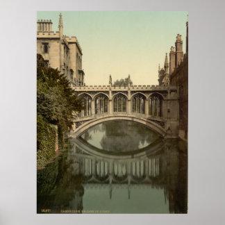 Vintage Cambridge England, Bridge of Sighs Poster