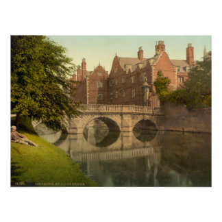 Vintage Cambridge England, St. Johns Bridge Poster