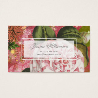 Vintage Camellia Floral Collage Business Card