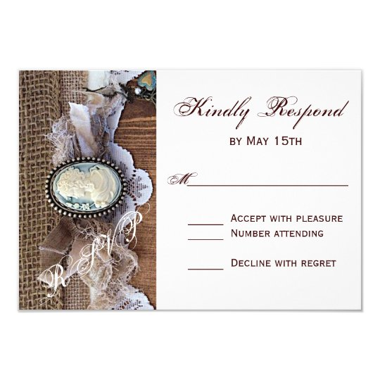 Vintage Cameo Key Burlap Wood Wedding RSVP Card