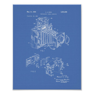 Vintage Camera 1966 Patent Art  - Blueprint Poster