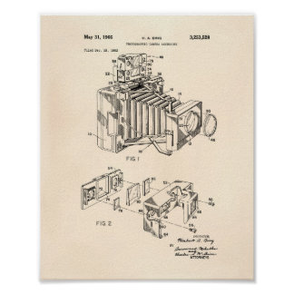 Vintage Camera 1966 Patent Art  - Old Peper Poster