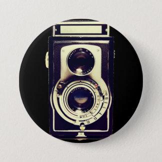 Vintage camera 7.5 cm round badge