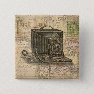 Vintage Camera Antique Map of Africa Collage 15 Cm Square Badge