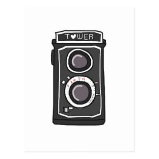 Vintage camera black and gray post card