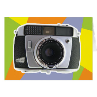 Vintage camera bright geometric background cards