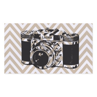 Vintage Camera Chevron Photographer Business Cards