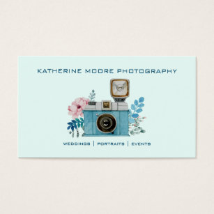 Vintage photography business cards business card printing zazzle uk vintage camera flowers watercolor photography business card reheart Gallery