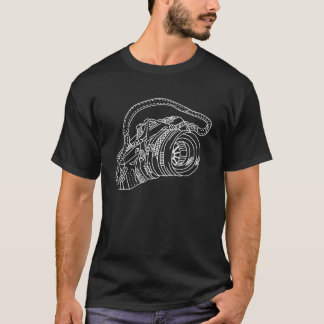Vintage Camera in White Lines T-Shirt
