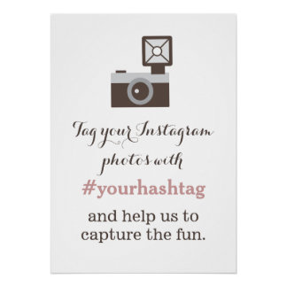 Vintage Camera Instagram Photos Hashtag Sign Poster