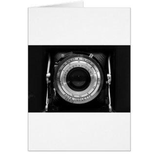 Vintage camera lens greeting card