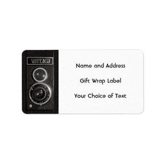 Vintage Camera Lens Name and Address Labels