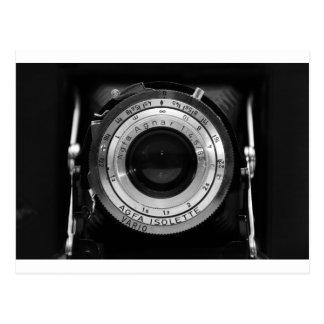 Vintage camera lens postcard