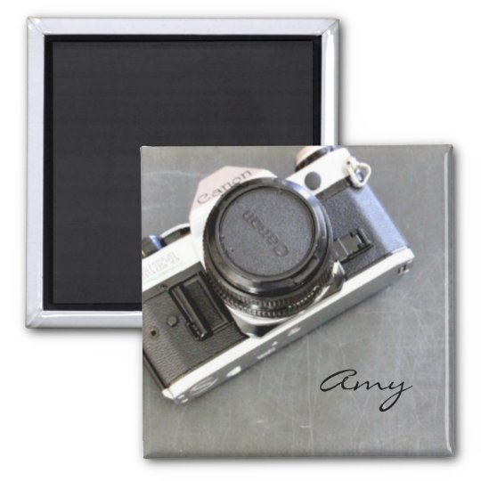Vintage Camera on Chalkboard Square Magnet