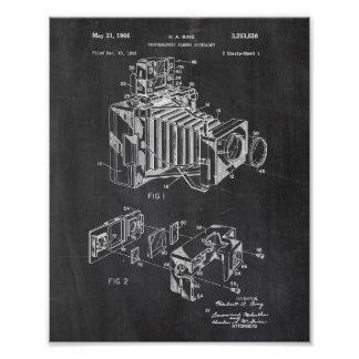 Vintage Camera Patent Poster Chalkboard Background
