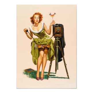 Vintage Camera Pinup girl 13 Cm X 18 Cm Invitation Card