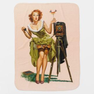 Vintage Camera Pinup girl Baby Blanket