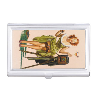 Vintage Camera Pinup girl Business Card Cases