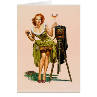 Vintage Camera Pinup girl Card