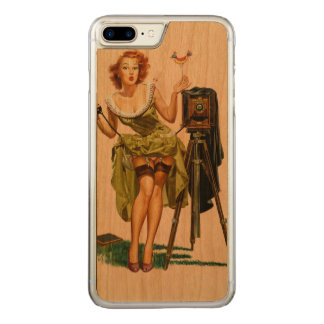 Vintage Camera Pinup girl Carved iPhone 8 Plus/7 Plus Case