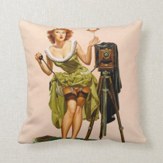 Vintage Camera Pinup girl Cushion