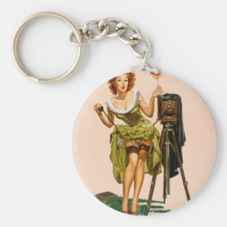 Vintage Camera Pinup girl Key Chain