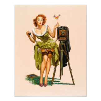 Vintage Camera Pinup girl Photo Art