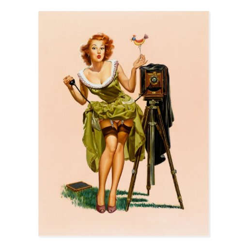 Vintage Camera Pinup girl Post Cards