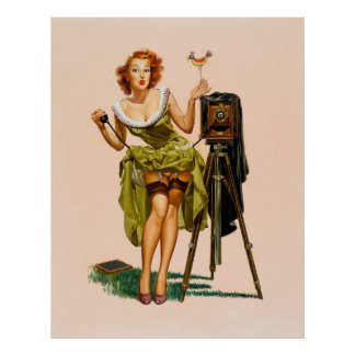 Vintage Camera Pinup girl Poster