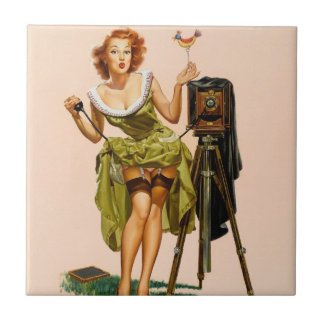Vintage Camera Pinup girl Small Square Tile