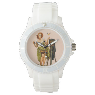 Vintage Camera Pinup girl Watch