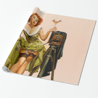 Vintage Camera Pinup girl Wrapping Paper