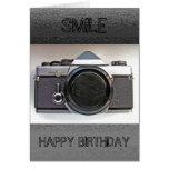 Vintage Camera Smile Happy Birthday Card