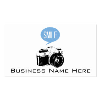 Vintage Camera, Smile Text Balloon, Photographer Standard Business Cards