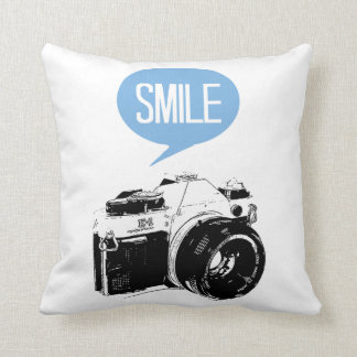 Vintage Camera, Smile Text Balloon, Photographer Cushion