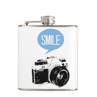 Vintage Camera, Smile Text Balloon, Photographer Hip Flask