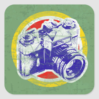Vintage Camera Square Stickers