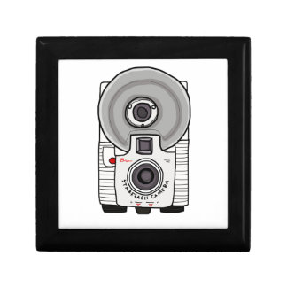 Vintage camera white and gray trinket box