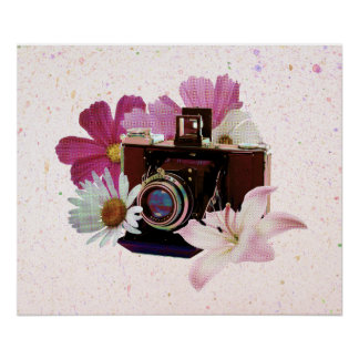 Vintage camera with flowers poster