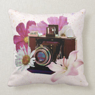 Vintage camera with flowers throw pillow