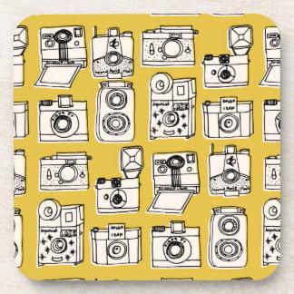 Vintage Cameras - Mustard Yellow / Andrea Lauren Drink Coasters