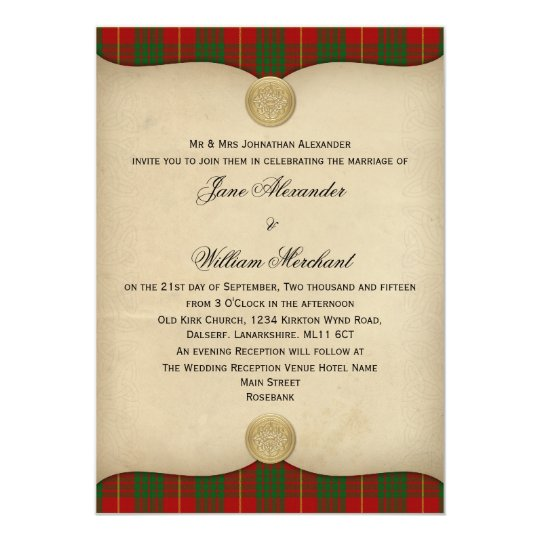 Vintage Cameron Family Tartan Plaid Wedding Invite