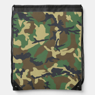 Vintage Camouflage Pattern Drawstring Bag
