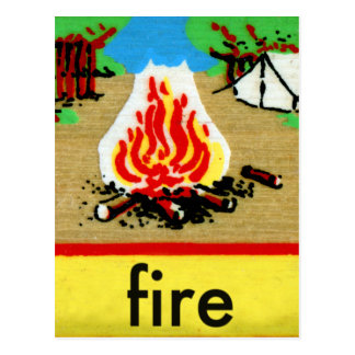 Vintage Camp Fire Spelling Alphabet F is for Fire Postcard