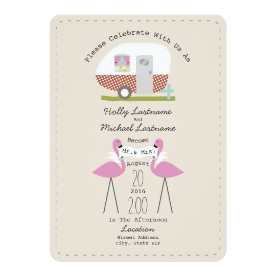 Vintage Camper And Flamingos Wedding Card