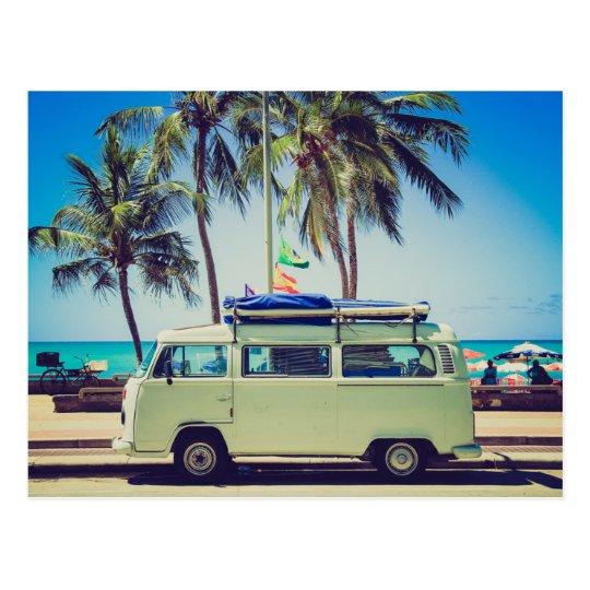 Vintage Camper Bus At The Beach Postcard